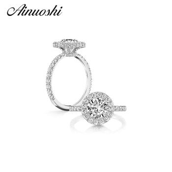 6256032c8edd AINUOSHI nueva plata de ley 925 aniversario nupcial Halo anillo 2 Carat  circón joyería Sona nscd boda