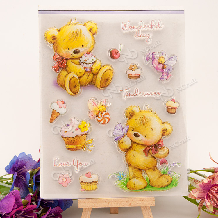 Little bear cake Transparent Clear Silicone Stamp/Seal for DIY scrapbooking/photo album Decorative clear stamp sheets lovely bear and star design clear transparent stamp rubber stamp for diy scrapbooking paper card photo album decor rm 037