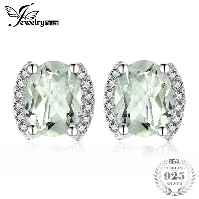 JewelryPalace Exquisite 2.45ct Oval Natural Green Amethys Stud Earrings For Wome