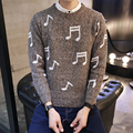Autumn New Pullover Knitting Sweater Men 2016 Korean Sweater Men Round Neck Slim Fit Personality Musical Note Pull Homme Tide