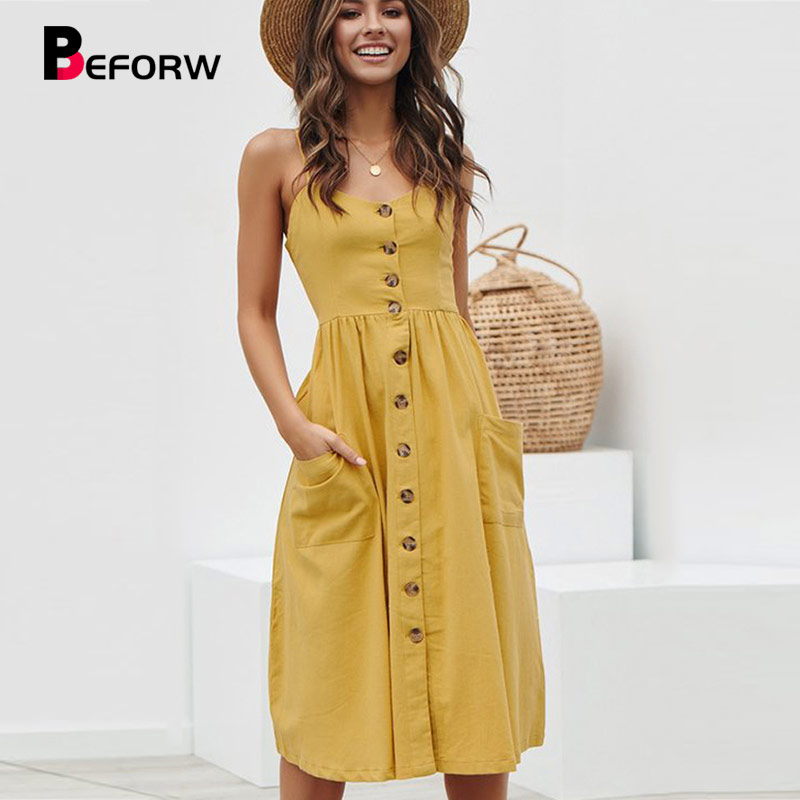 BEFORW Women Summer Dress 2019 Sexy Straps Bohemian Floral Tunic Beach Dress Sundress Pocket Red Dresses Female(China)