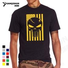 YUANQISHUN Boutique T-shirt American Flag Skull Head T Shirt Cool Summer Tops High Quality Casual Tee USA Veteran Military Tops