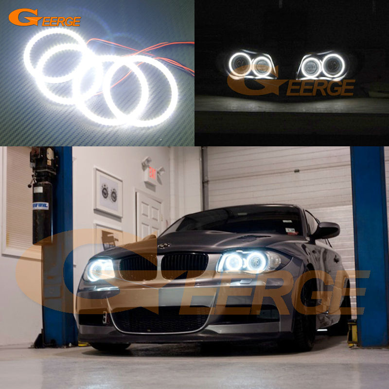 For BMW 1 Series E81 E82 E87 E88 2004-2012 XENON HEADLIGHT Excellent led Angel Eyes Ultra bright 3528 SMD led Angel Eyes kit ветровики skyline bmw 5 series e34 88 96 sd