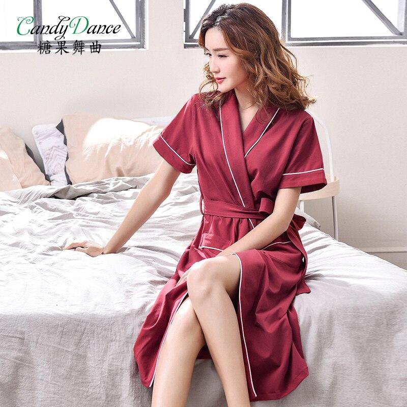 חלוק רחצה גלימות נשים שרוול קצר 100% כותנה קיץ מוצק בוקר ספא דק מעיל בתוספת גודל בינוני ארוך תלבש לנשים נקבה