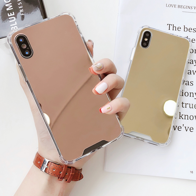 Four Corner Thickening Cover For iPhone X XR XS MAX Case Silicone plating Mirror Anti-Knock For iPhone 6 6S 7 8 Plus Transparent iPhone