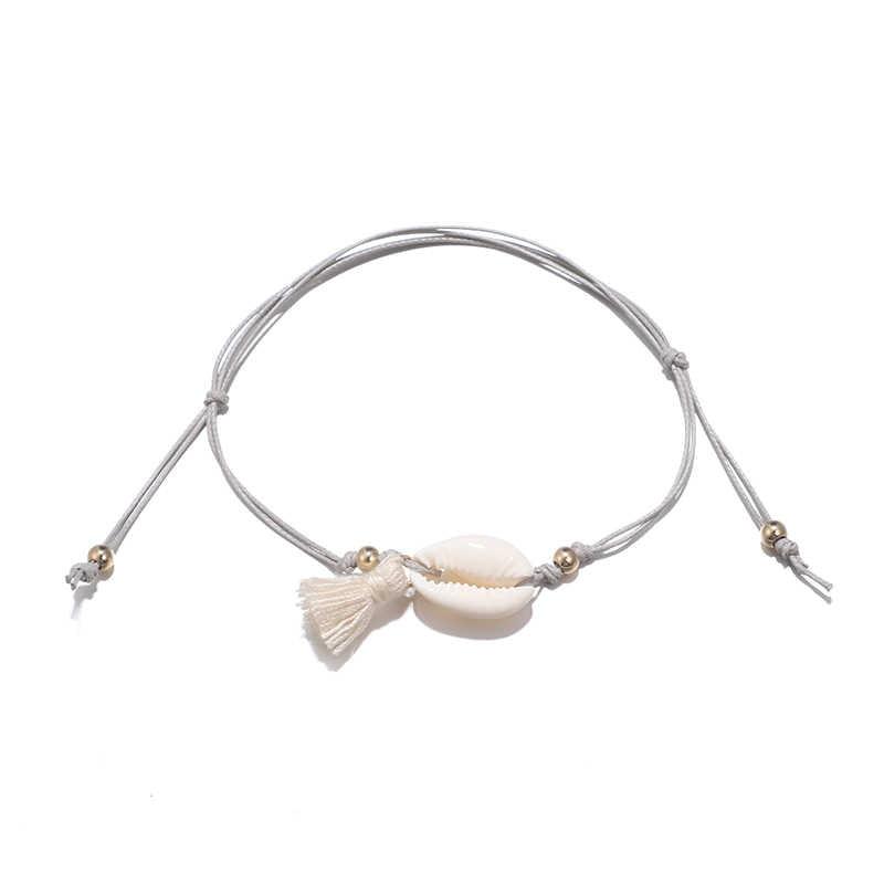Ручная работа, богемные морские ракушки, браслеты для лодыжки геометрической формы, кулон с кисточками для женщин, панк, босиком для ног, браслеты, серая веревка, пляжные украшения