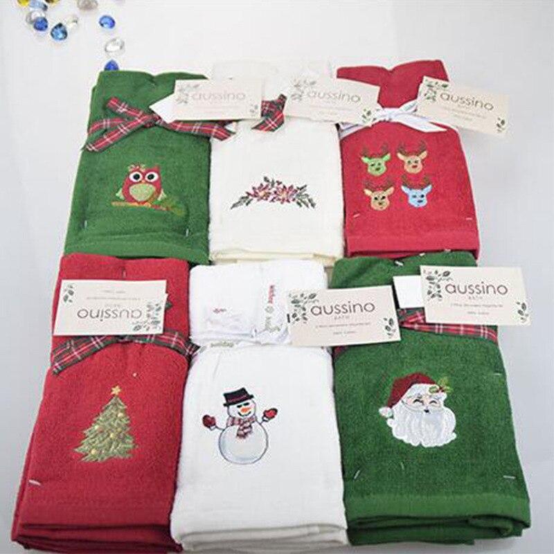 חדש דקורטיבי יוקרה יד מגבת סט חג המולד מגבת מתנה רקום איש שלג סנטה קלאוס מגבת מטבח צלחת מגבות