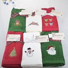 Новое декоративное роскошное полотенце для рук, 3 шт., рождественское полотенце, подарок, полотенце с вышивкой в виде снеговика, Санта Клауса, полотенце для кухонной посуды