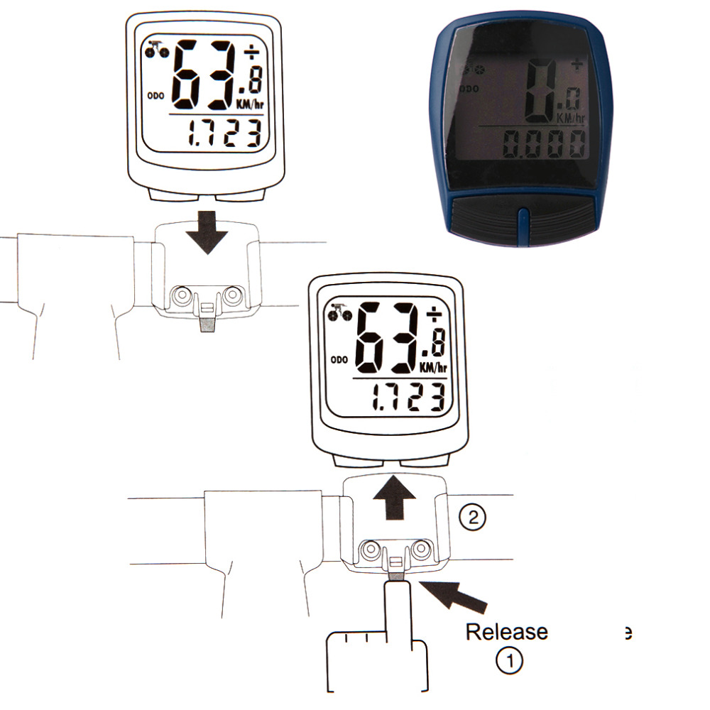 Uniqueheart Multifunctional XC Shell Wired Cycling Bikes Bicycles Computer Odometer Pedometer Bicycle Accessories