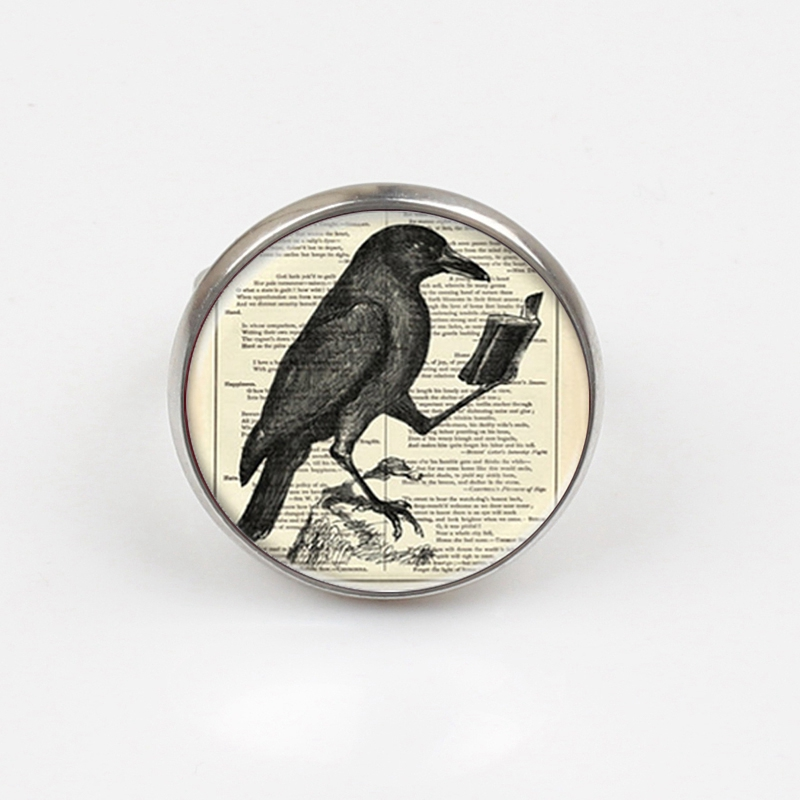 2019 Raven ring Crow Hot Glass Dome Jewelry Glass Cabochon Dome ring Bird Jewelry ring in Rings from Jewelry Accessories