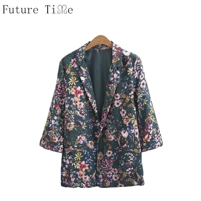 Future Time font b Women b font Blazer Vintage Flower font b Jackets b font Office