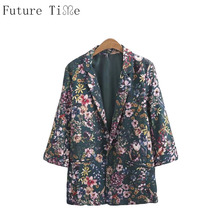 Future Time Women Blazer Vintage Flower Jackets Office Ladies Suits Long Sleeve Open Stitch Coats Female Printing Outwear WT140