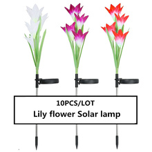 10PCS High-quality Solar Lights Lily Flower Light waterproof IP65 Lamp Colorful LED gradient light source Simulated flower