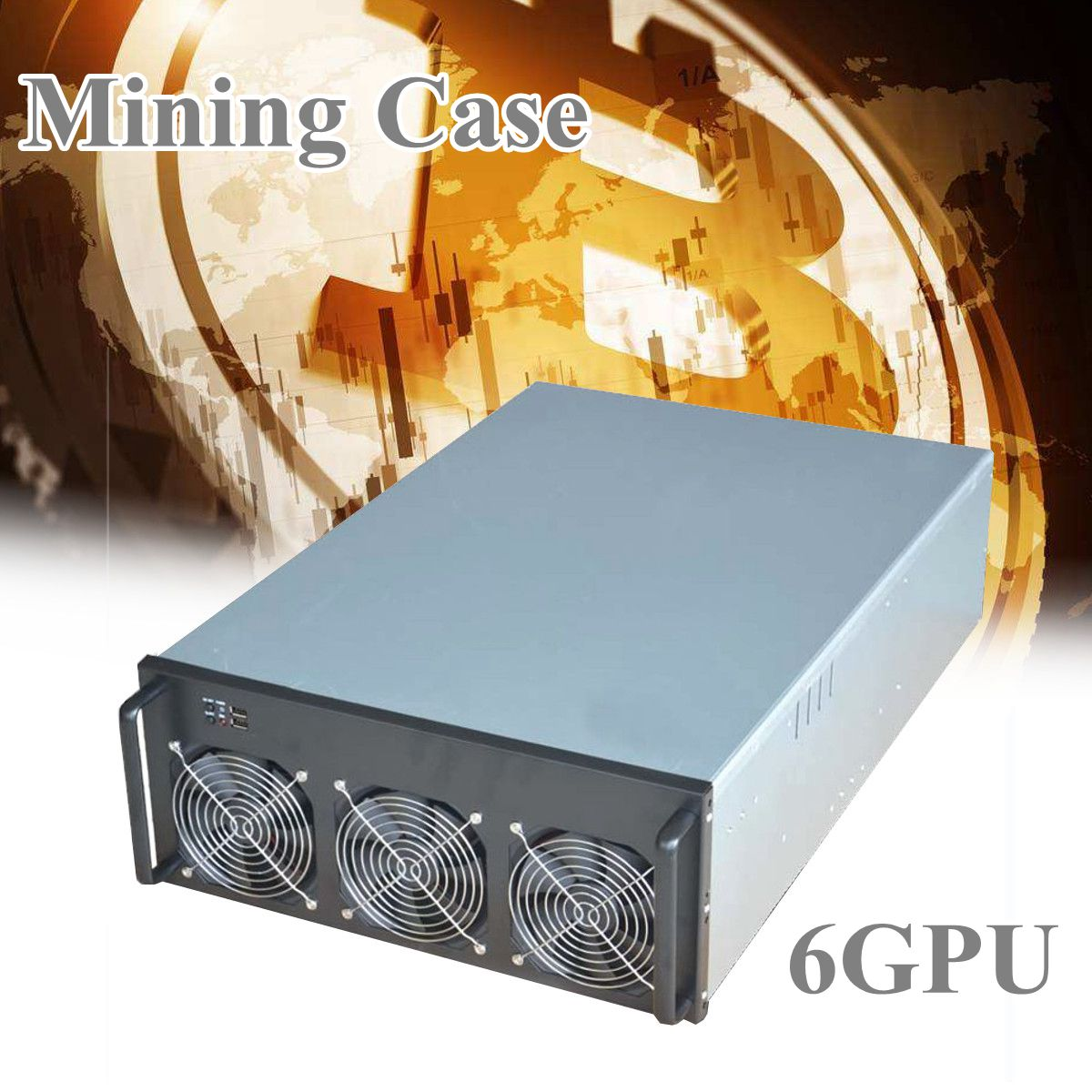 6GPU Crypto Coin Open Air Mining Server Frame Rig Graphics Case /with 6 Fans Mining Case Frame Server 4U ...