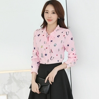 Plus Size Women Shirts Blouse 2017 Long Sleeve Bow Ruffle Collar Chiffon Blouse Korean OL Casual