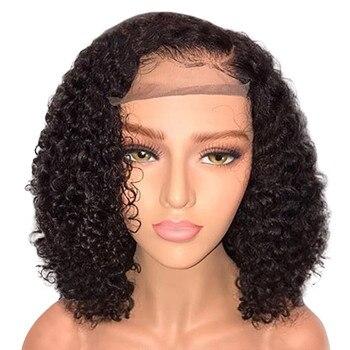 Calidad Superior Real Natural Balck brasileña menos frente del cordón peluca  Bob onda negro mujer de a4a64accec88