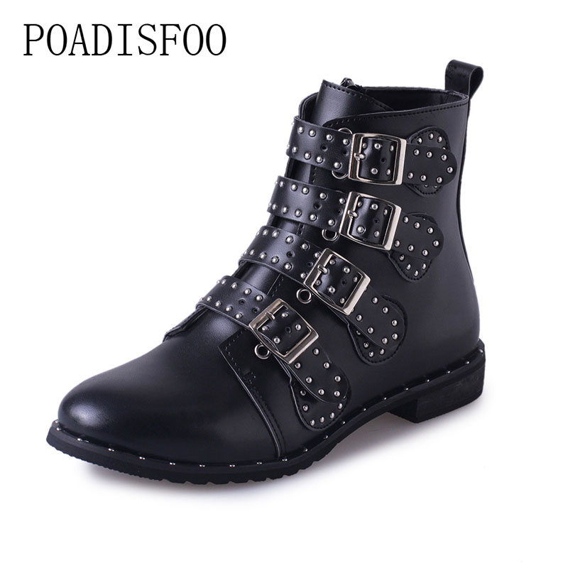Black Studded Leather Ankle Boots Buckles Low Heeled High Women Boots