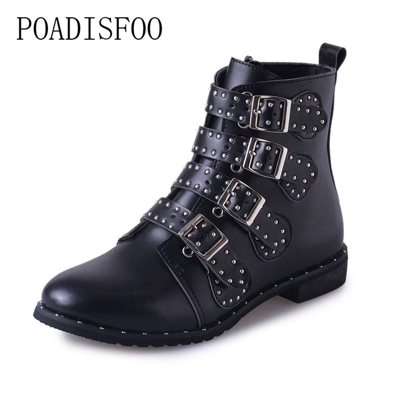 POADISFOO Schwarz Besetzte Leder Stiefeletten Schnallen Niedrigen Absätzen Hoch Frauen Stiefel Zapatos Mujer Damen Schuhe Größe 42 HYKL-6618