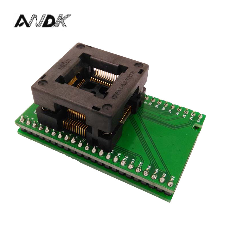 TQFP44 FQFP44 QFP44 to DIP44 Programming Socket OTQ-44-0.8-14 Pitch 0.8mm IC Body Size 10x10mm Test Adapter SMD/SMT Test Socket
