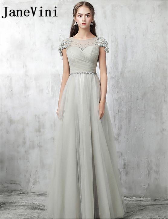 JaneVini 2018 Light Gray Beading Pearls Long Bridesmaid Dresses Sexy Illusion Tulle Sheer Neck Floor Length Wedding Party Gowns