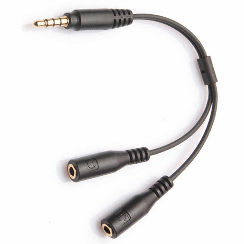 2019 3.5mm Gold Plated Stereo Audio Male To 2 Female Headset Mic Y Splitter Cable Headphone Adapter For PC Laptop Computer Black