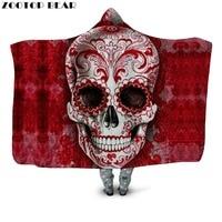 Red Color Skull Hooded Blanket Tattoo Sherpa Fleece Wearable Throw Blanket Adults Kids Bedding Hooded Blanket