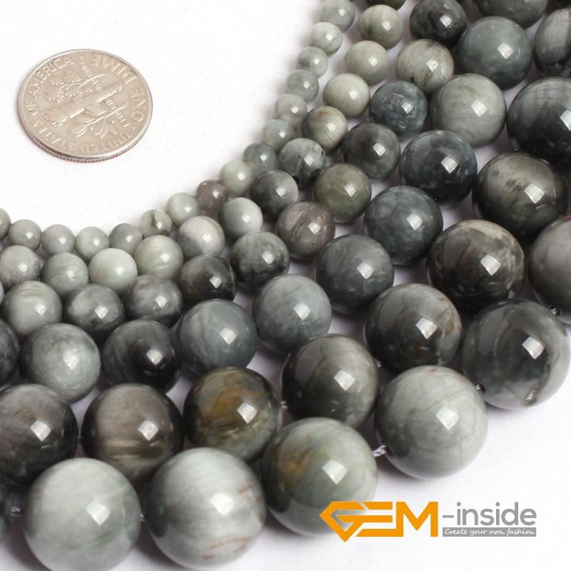 Graue Hawk-Eye-Steinperlen: 4 mm bis 14 mm Natursteinperlen DIY lose Perle für Schmuckherstellung Perlenstrang 15 Zoll Großhandel!