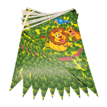 Happy Baby Shower Bunting Decorate Jungle Animals Theme Hanging Banner Birthday Party Paper Flags Boys Favors Pennants 1set/pack