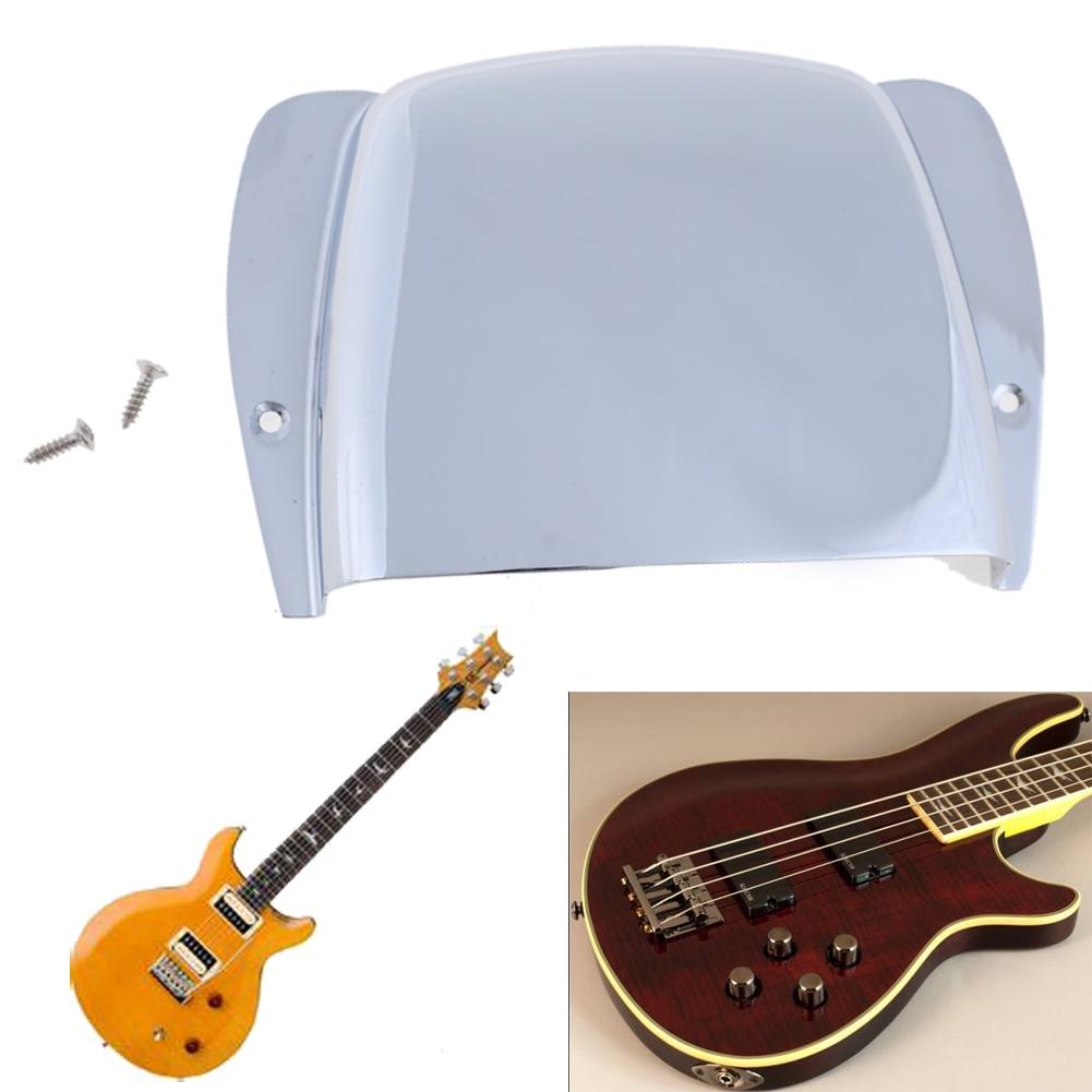 1pcs Short Powerful Protective Guitar Bridge Tailpiece Cover for Electric Guitar Bass Bridge Silver Guitar Parts and Accessories