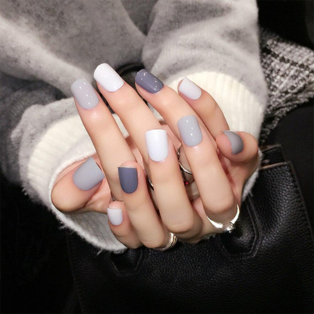 Online Shop 24pcs/Set Daily Mix Grey False Nails Korean style simple ...