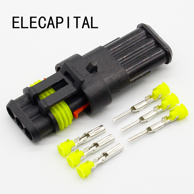5 sets Kit 3 Pin Way Waterproof Electrical Wire automotive Connector Plug for car black 50 sets 4 pin dj3041y 1 6 11 21 deutsch connectors dt04 4p dt06 4s automobile waterproof wire electrical connector plug