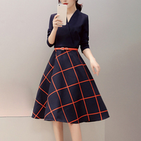 Women Office Dress Plaid Patchwork A Line Belt Dress Work Elegant V Neck Long Sleeve OL Spring Autumn Dresses 2XL