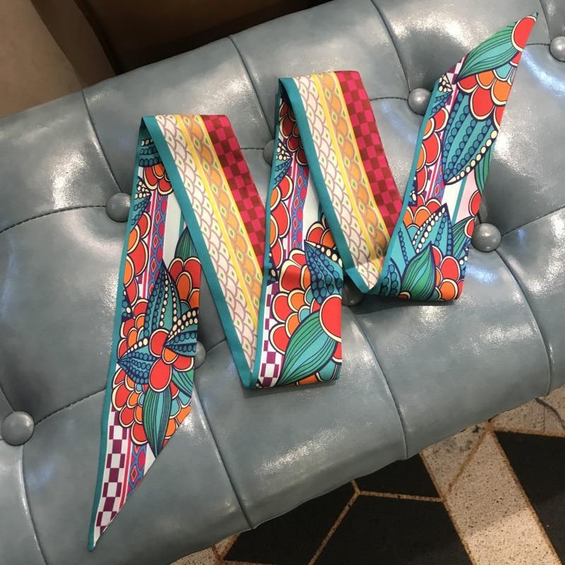 100% Pure Twill Silk Scarf Ribbon Skinny Mandala Ribbon Neck Head Scarf for Bag Hat Headband Hairband Belt 120*6cm