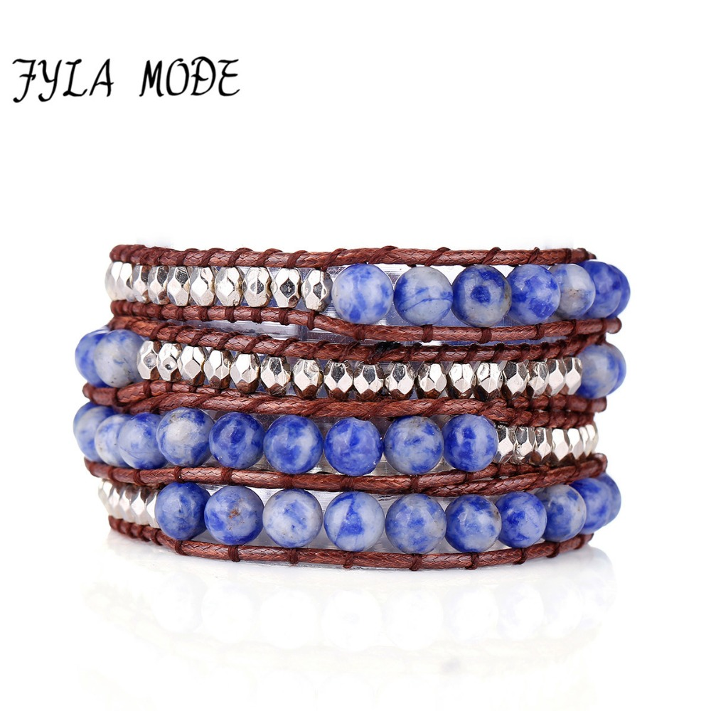 Fyla Mode Exclusive Natural Blue White Stone Bead 4 Strands Weave Wax Leather Wrap Bracelet Multi Layered Vintage Woven Bracelet in Wrap Bracelets from Jewelry Accessories