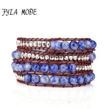 Fyla Mode Exclusive Natural Blue White Stone Beads 4 Strands Weave Leather Wrap Bracelet Multi Layered Vintage Woven Bracelet