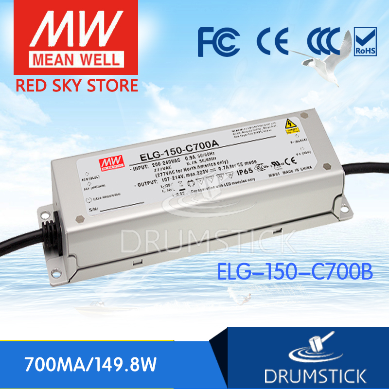 MEAN WELL original ELG-150-C700B 225V 700mA meanwell ELG-150 225V 149.8W Single Output LED Driver Power Supply B type [Hot8] [powernex] mean well original elg 150 12a 12v 10a meanwell elg 150 12v 120w single output led driver power supply a type