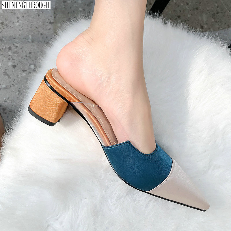 Fashion colours poined toe shallow casual women mules shoes square heel women slippers genuine leather shoes