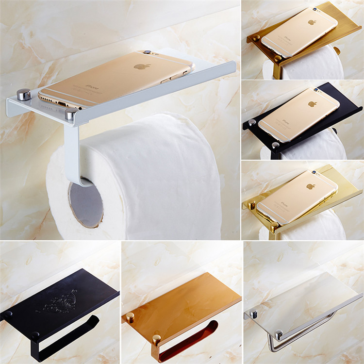 steel toilet paper holder on mobile phone golden antique paper towel rack bathroom shelf toilet paper towel box