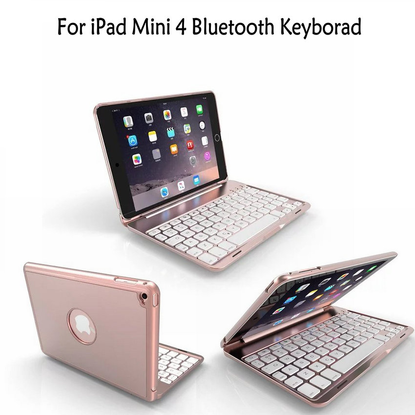 Ultra thin Wireless Bluetooth Keyboard for iPad Mini 4 Case 7.9 inch Aluminum Alloy Hollow out 7 colour Backlight logo design