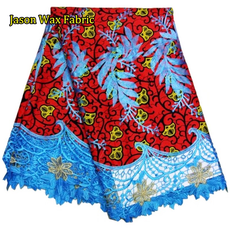 Ankara wax lace fabric 6yards 100%cotton African Wax Lace 2017/Nigerian Lace Fabrics For Sewing LBL