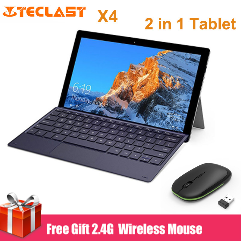 Teclast X4 2 en 1 tablette PC 11.6 pouces Windows 10 Celeron N4100 Quad Core 8 GB RAM 128 GB SSD double caméra HDMI ordinateur portable avec clavier