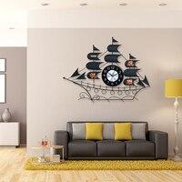 Kreative Segelboot Große Wanduhr Modernes Design Metall Wohnzimmer/Schlafzimmer Wand Uhr Mute Digitale Wanduhr Wohnkultur uhren