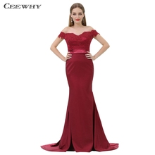 CEEWHY Open Back Robe De Soiree Lace Mermaid Dress Burgundry Long Evening  Dress Party Elegant Vestido. 2 Colors Available b55634a995c6