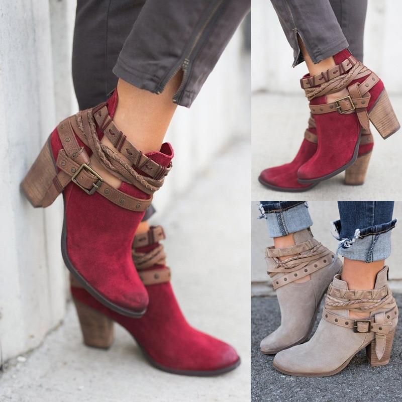 Mode Femmes Bottes Printemps Automne Haute Talons Chaussures pour Femme Rivet Boucle Quotidienne Chaussures PU En Cuir Cheville Bottes