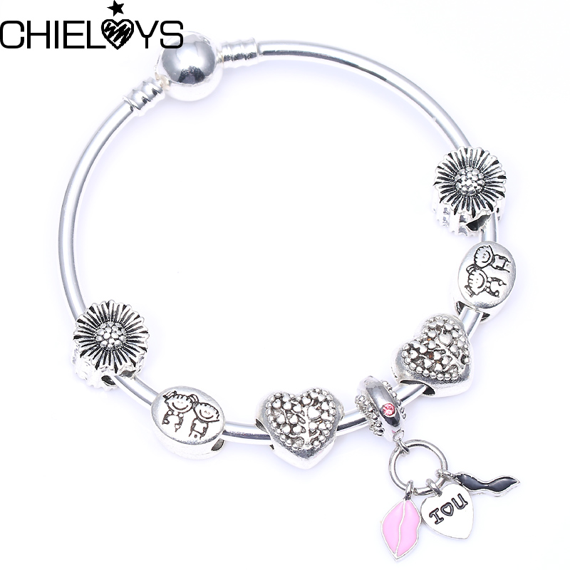 CHIELOYS Fashion European Bracelet Heart Highlights Pendant Charm With Original Pandora Bracelets & Bangles For Women Jewelry