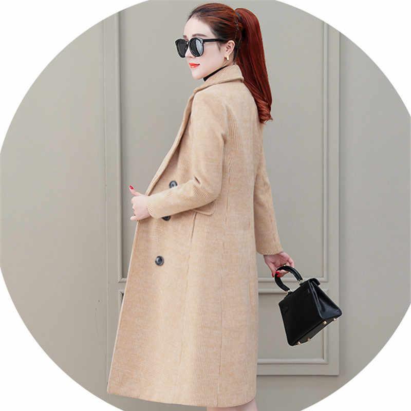 Демисезонный Для женщин верхняя одежда 2019 новые средней длины двубортный женский Шерстяное пальто Высокое качество плед Дамы шерстяная куртка Qw040
