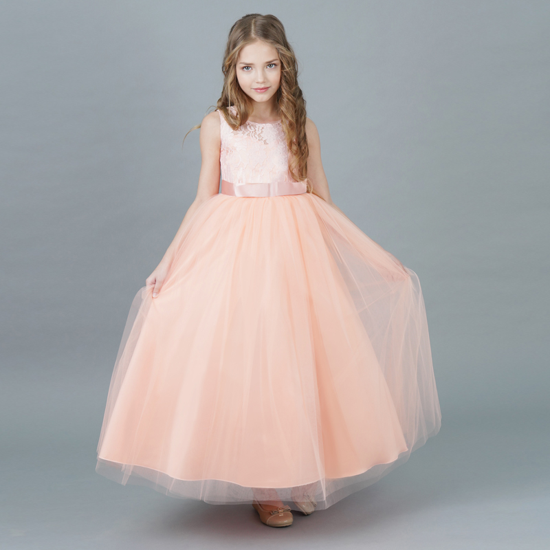 Flower Girl Princess Dress Kids Baby Long Lace Tulle Dresses for Girl Party Events Children Clothing Tutu Fluffy Prom Gowns