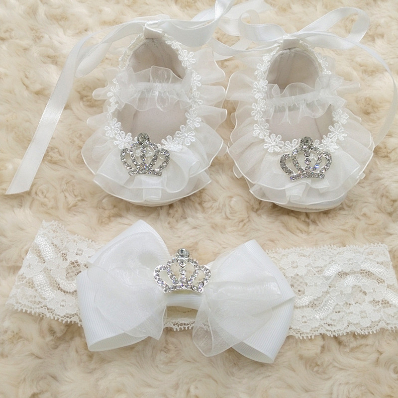 1set(1pair Shoes+1pcs Headband) Creative Custom Christening White Princess Baby Girl Soft Soled Little Crown Lovely Prewalker