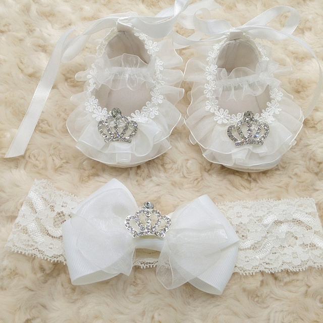 1set(1pair Shoes+1pcs Headband) Creative Custom Christening White Princess Baby Girl Soft Soled Little Crown Lovely Prewalker