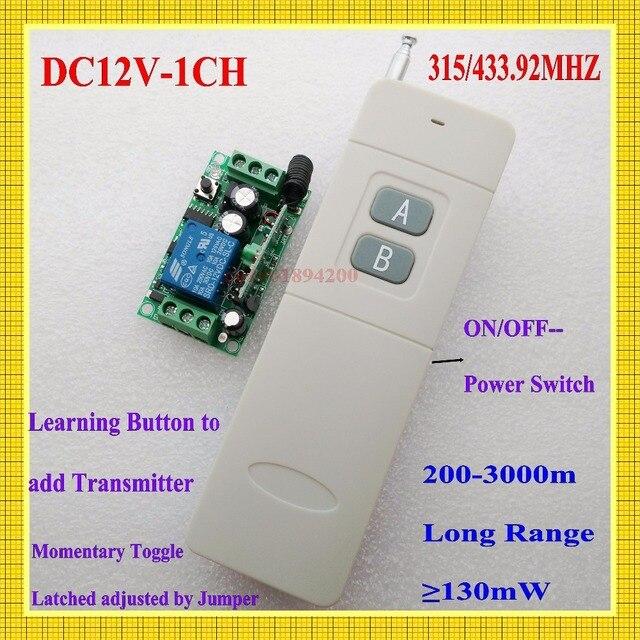 Беспроводной пульт дистанционного управления, 3000 м, 12 в пост. Тока, 1 канал, 10 А, передатчик, светильник для обучения, 315433 МГц